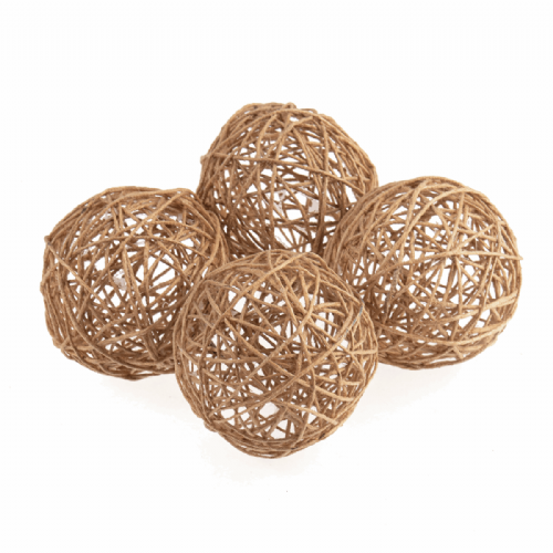 Woven Jute Balls Large 60mm 4 Pieces